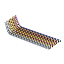 10 Pack - Stainless Steel Coloured Reusable Straws Includes 2 Long Cleaning Brushes
