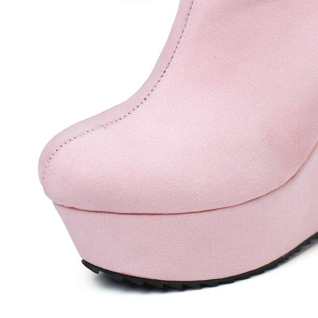 2020 automne hiver nouveau élégant femmes bottines Sexy plate-forme bout rond bottes compensées femme bottines grande taille noir 35-41