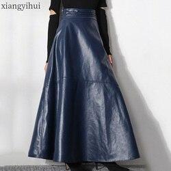 Vintage Frauen Dunkelblau Lange Leder Rock Weibliche Büro Dame Arbeit Pu Rock Hohe Taille Tulles 2019 Hohe Qualität Mode röcke