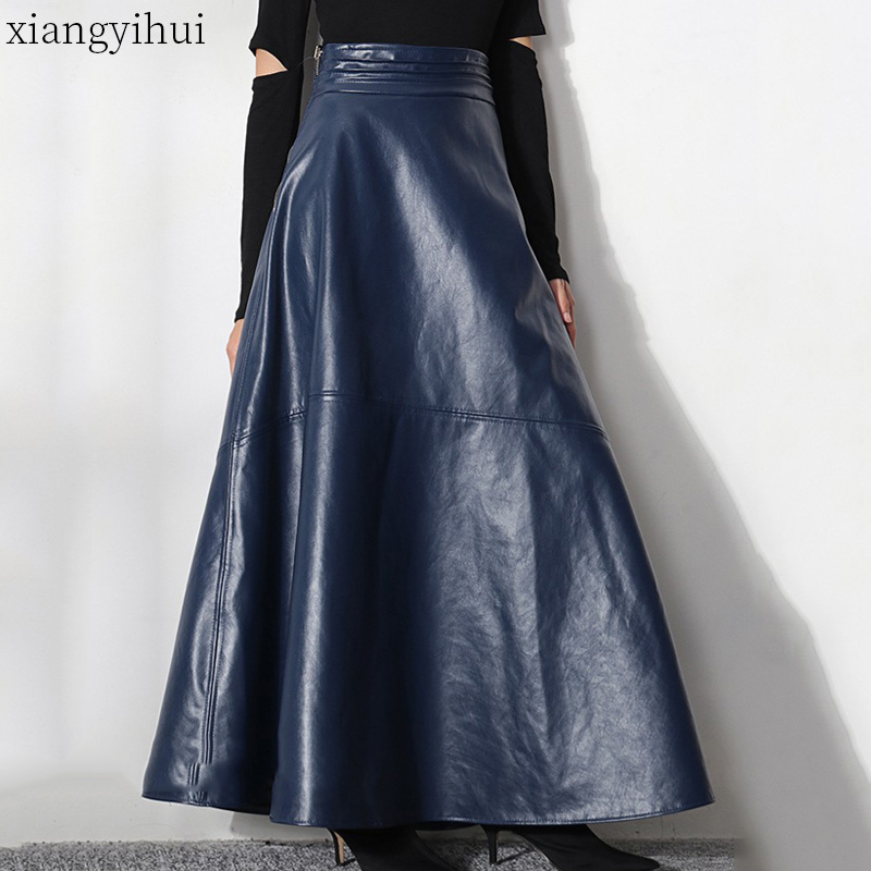 Vintage Women Dark Blue Long Leather Skirt Female Office Lady Work Pu Skirt High Waist Tulles 2019 High Quality Fashion Skirts