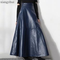 Vintage Women Dark Blue Long Leather Skirt Female Office Lady Work Pu Skirt High Waist Tulles 2019 High Quality Fashion Skirts