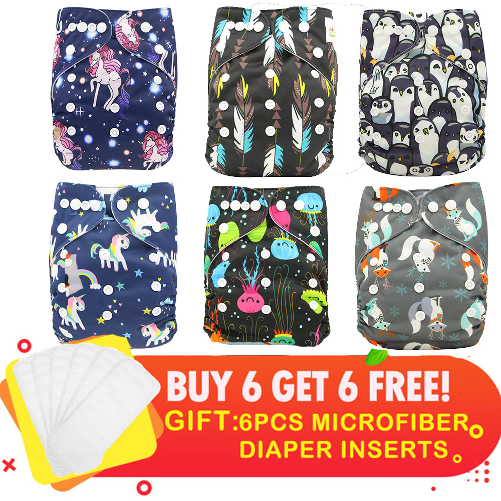 Ohbabyka Suede Baby Cloth Diaper Cover Waterproof Cartoon Fox Baby Washable Diapers Pocket Reusable Cloth Nappies IN STOCK