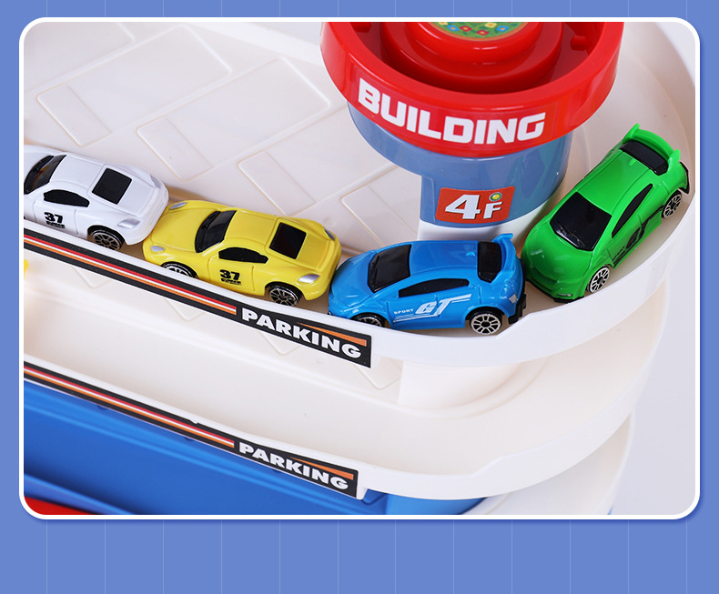 Electric vehicle building with 4 cars Concept Car With Lights Music Toys Simulation Model Xmas Christmas New Year Kid Gift - 5