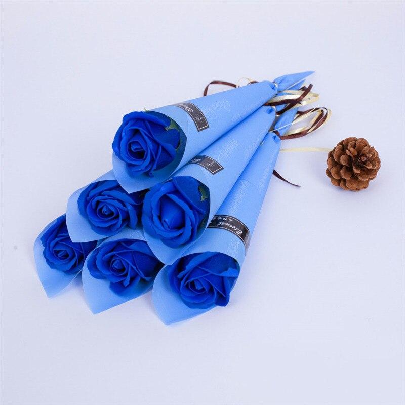 Мыло цветок розы искусственный цветок букет многоцветная Роза свадебный цветок украшение Скрапбукинг искусственный цветок Роза - Цвет: sapphire 1pc