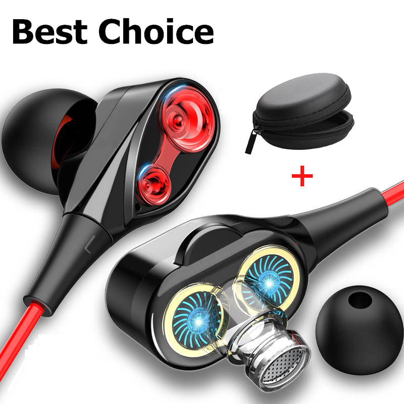 Dual Drive Stereo Wired Earphone In-ear Headset Earbuds Bass Earphones For IPhone 7 Samsung 3.5mm Sport Gaming Headset With Mic