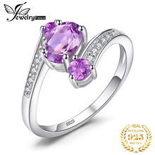 Feelcolor 2.48ct Genuine Natural Purple Amethyst Ring Solid 925 Sterling Silver Oval Cut Fashion Hot Sale Fine Jewelry For Women цена в Москве и Питере