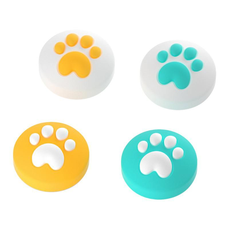 TWISTER.CK 4pcs Thumb Grips Caps Cute Cat Paw Soft Silicone Firmly Adhere Anti-fall For Switch NX NS Provide Better Protection