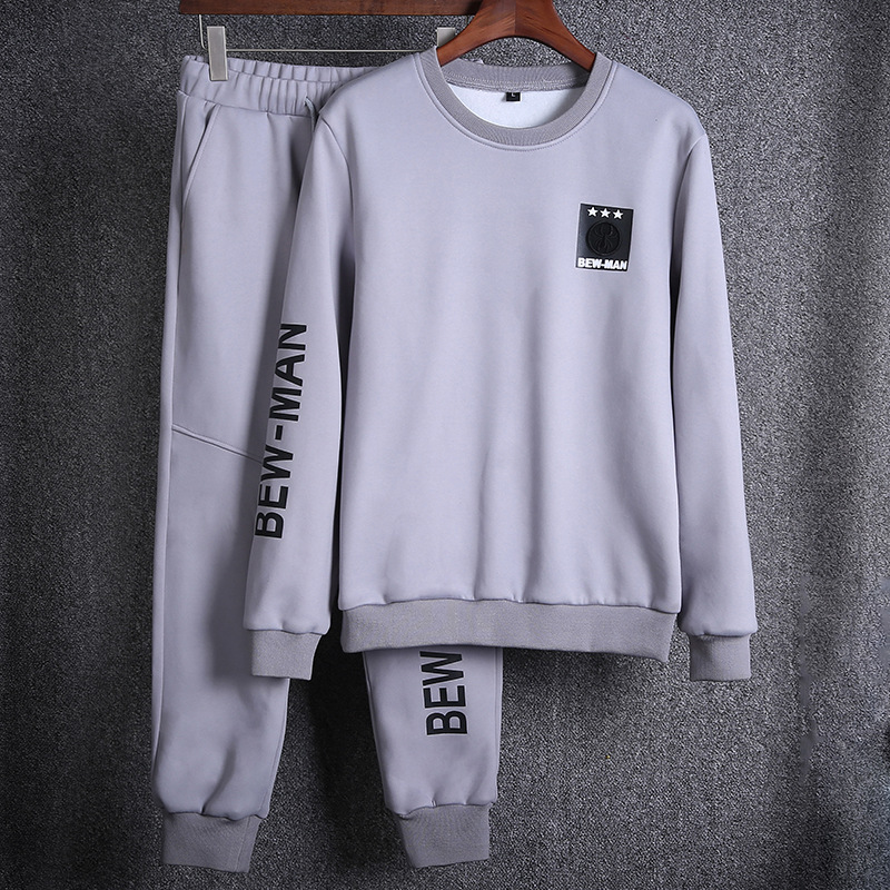 2018 New Style MEN'S Suit Autumn Crew Neck Long-sleeved Sweater Trend Korean-style Youth Casual Two-Piece Set Spring And Autumn