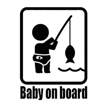 Auto Cartoon Sticker Funny Fishing Baby on Board Car Vehicle Reflective Decals Sticker Decoration image