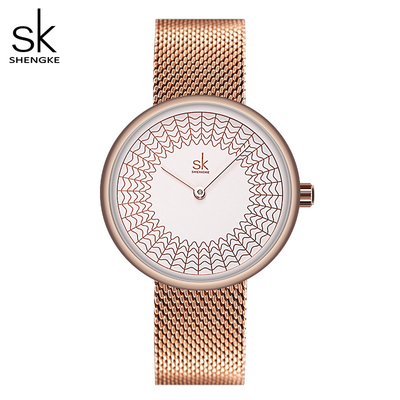 Shengke Gold Watch Women Watches Ladies Creative Steel Women's Meshband Watches Female Clock Relogio Feminino Montre Femme