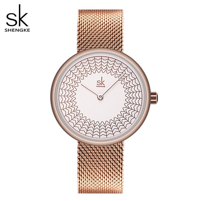 Shengke Gold Watch Women Watches Ladies Creative Steel Women's Meshband Watches Female Clock Relogio Feminino Montre Femme