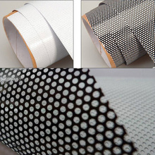One Way Perforated Black White Vinyl Privacy Window Film Adhesive Glass Wrap Roll