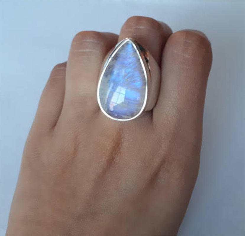 Женское Винтажное кольцо из серебра 925 пробы с лунным камнем, Подарок на годовщину свадьбы, Серебряное Ювелирное кольцо, оптовая продажа