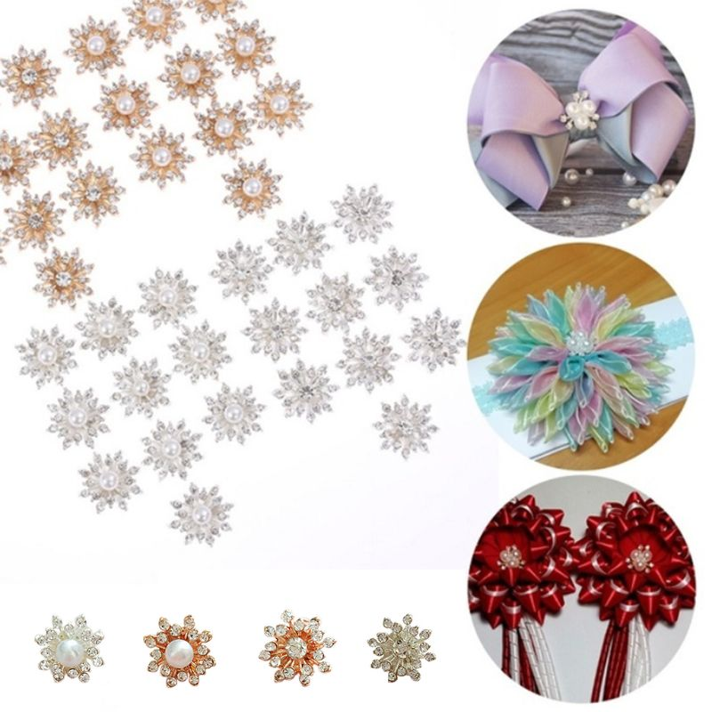 10Pcs Rhinestone Faux Pearl Snowflake Buttons Flatback Plating DIY Craft Decor M6CD