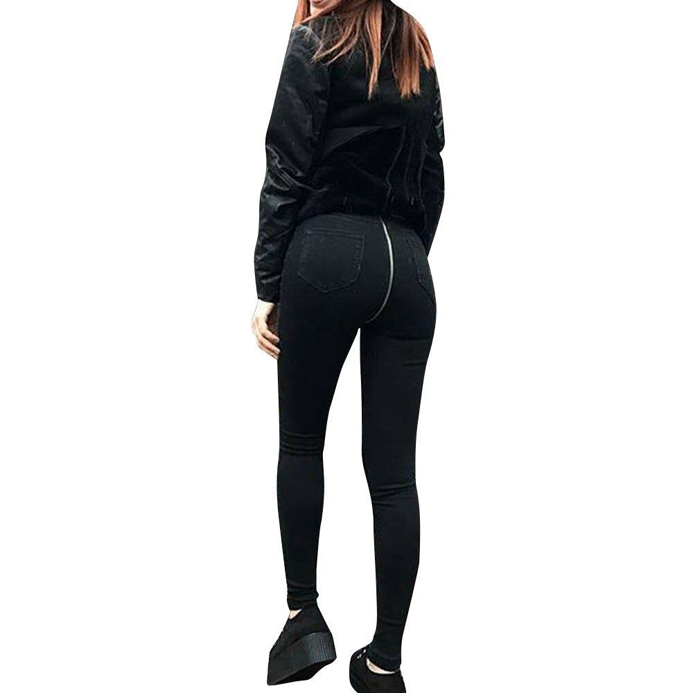 Black ripped jeans Woman 2019 New Sexy Back Zipper Denim Pants Skinny Pencil Pants Stretch Trousers Jeans #4 2