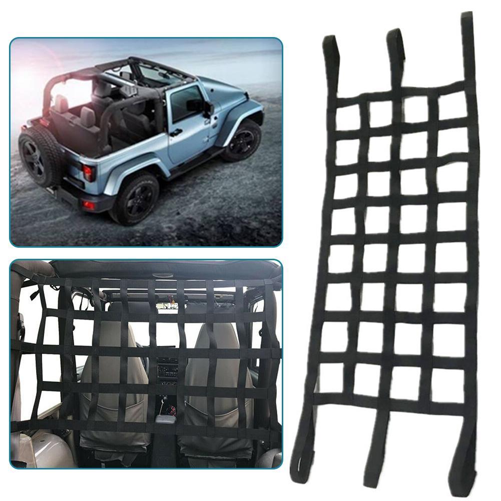 Mesh Cargo Net Car Multifunction Roof Hammock Net Auto Roof Net Hammock Protective Net for Jeep Wrangler TJ JK JL 1997-2019