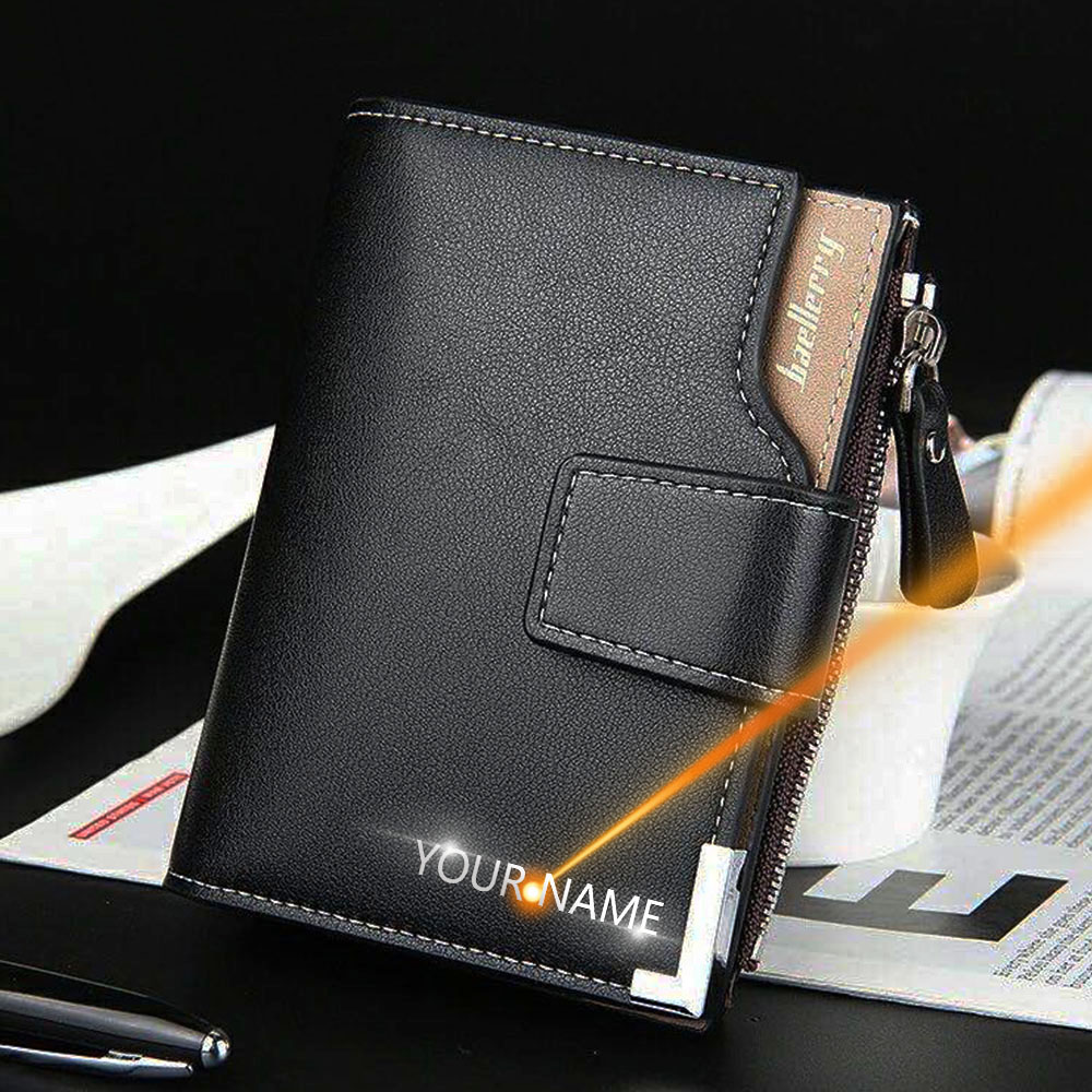 Customized Men Wallets Name Engraving Card Holders Zipper Fashion Short Men Purse PU Leather High Quality Male Purse For Men