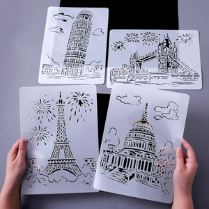 1pc Creative Architecture Series Painting Template Bullet Journal Stencils Theme City A4 Lace Ruler Template DIY Painting Tools