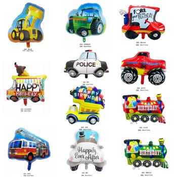1pc car aluminum film balloon transportation tank car train children birthday toy party decoration aluminum foil balloons globos image