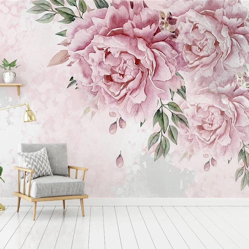 Пользовательские 3D фото обои ручная роспись цветочные цветы роспись Современная гостиная спальня домашний декор настенные бумаги Papel De Parede 3D