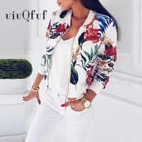 Chaquetas con estampado Floral de primavera para mujer talla grande abrigo corto con cremallera Chaqueta de manga larga para mujer