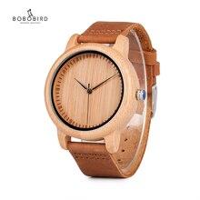 בובו ציפור במבוק עץ שעונים עבור גברים ונשים אופנה מזדמן עור רצועת שעון יד זכר Relogio C A15 מקבלים DROP חינם