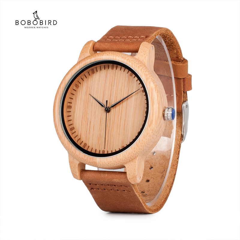 BOBO BIRD Bamboo Wood Watches For Men And Women Fashion Casual Leather Strap Wrist Watch Male Relogio C-A15 Accept DROP SHIPPING