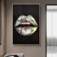 Money on Mouth Inspirational Canvas Art Posters And Prints Lips Graffiti Art Canvas Paintings On the Wall Street Art Pictures
