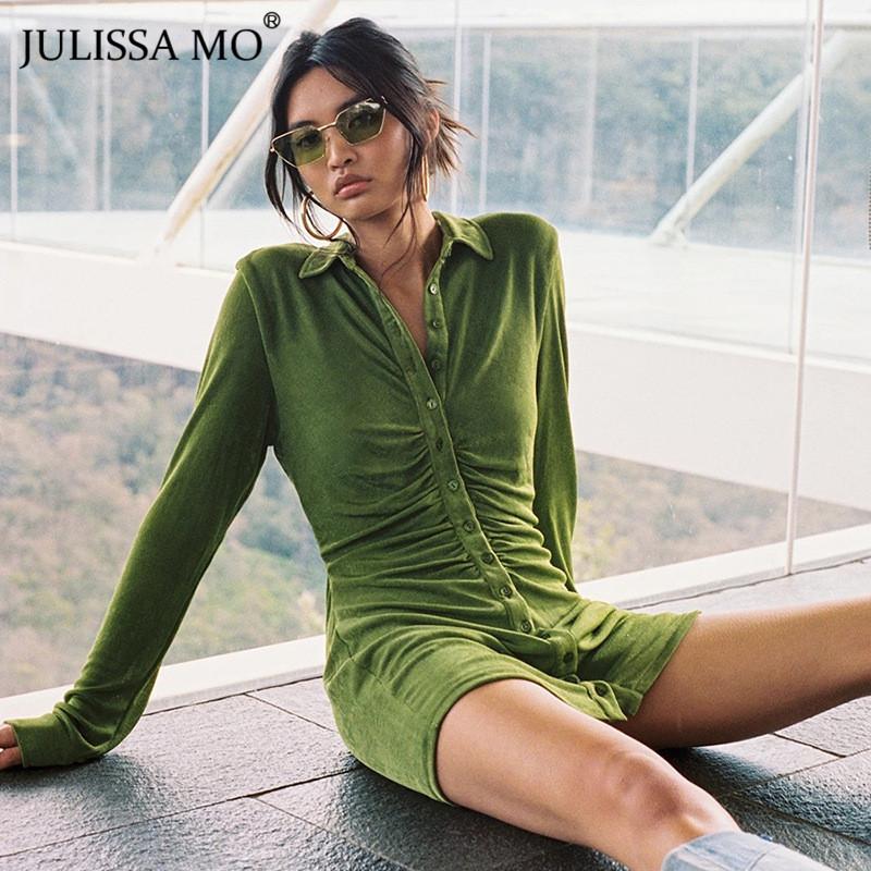 Julissa Mo Autumn Ruched Long Sleeve Bodycon Dress Women Turn Down Collar Sexy Mini Dress Female Button Slim Party Vestidos 2020