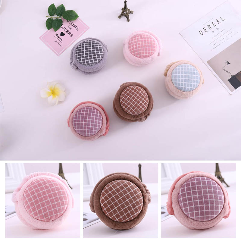 Calymel  Women/Girl/Lover Earmuffs Solid Soft Plush Hamburger Foldable Earmuffs Ear Warmers Winter Warm Ear Muffs