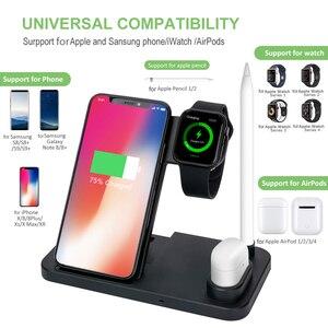 Image 3 - DCAE 10W Qi kablosuz şarj cihazı 4 in 1 şarj standı istasyonu iPhone 11 XS XR X 8 Airpods Apple izle 5 4 3 2 için Samsung S10 S9