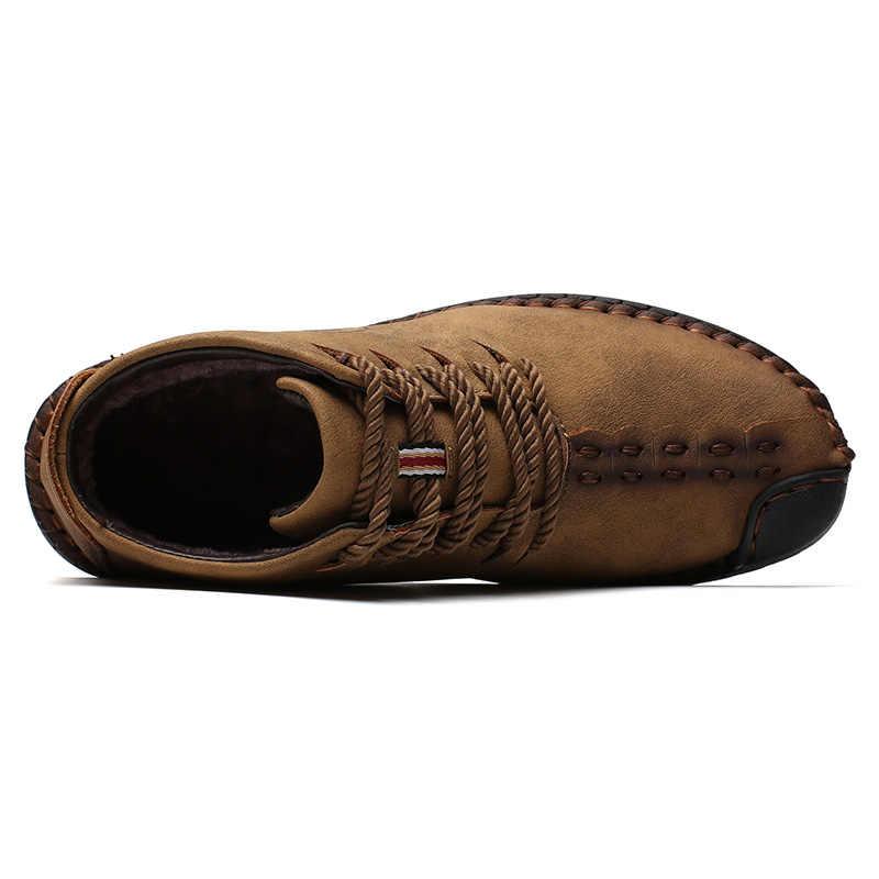 Marka yeni erkek siyah çizmeler sıcak kış erkek botları bölünmüş deri günlük erkek ayakkabısı peluş erkekler iş platformu çizmeler büyük boy erkek
