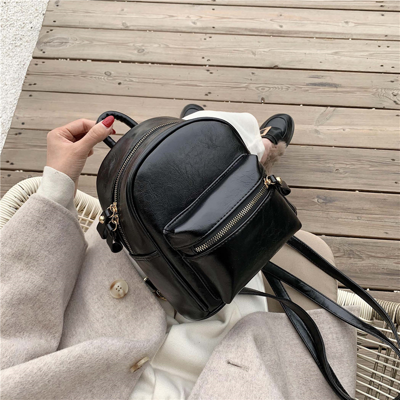 Toposhine Woman Fashion Leather Backpack Female Preppy Style Zipper School Bags For Teenage Girl Small Cute Backpack Women Bags