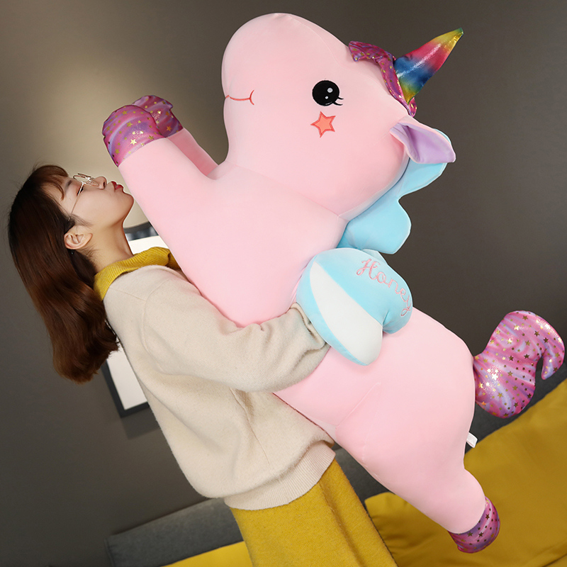 KUY Hot 2020 New Soft Huggable Lovely Rainbow  Kawaii Unicorn Plush Toy Giant Stuffed Animal Doll Fly Horse For Child Girls Gift