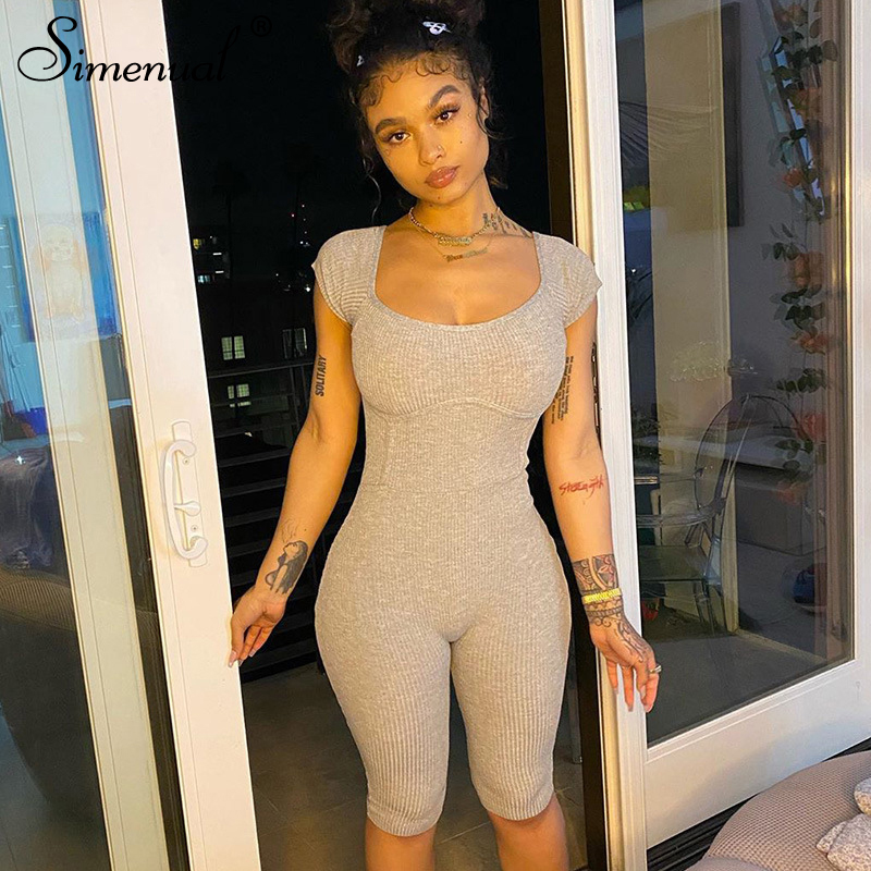 Simenual Off Shoulder Ribbed Bodycon Romper Women Short Sleeve Casual Workout Biker Palysuits Solid Fashion 2020 Summer Playsuit
