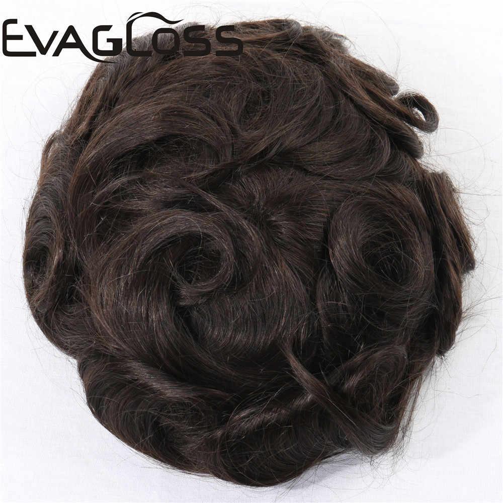 EVAGLOSS سوبر غرامة السويسري الدانتيل الرجال الشعر المستعار 8x10 بوصة الطبيعية ريمي شعر بشري مستعار الباروكات