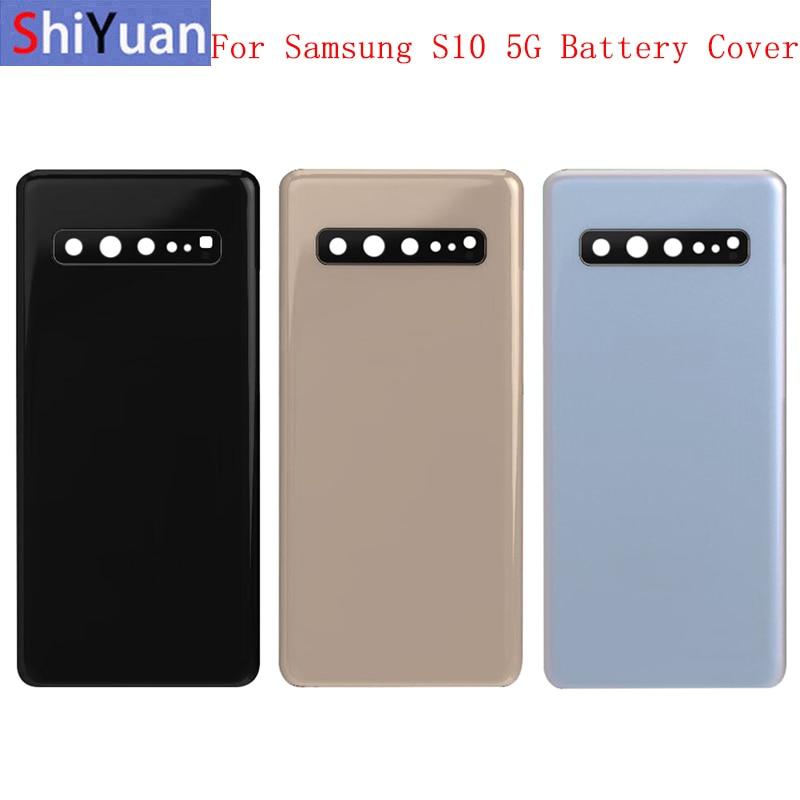 Крышка батарейного отсека, задняя крышка корпуса, задняя крышка для Samsung S10 5G G977, Крышка батарейного отсека, рамка для объектива камеры с лого...