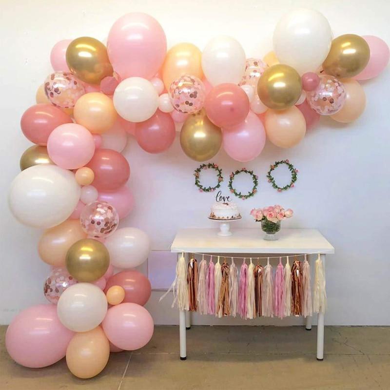 116pcs Wedding Birthday Baby Shower Party Latex Balloons Decorations Arch Pink White Macaroon Ballon Garland Celebration Decor