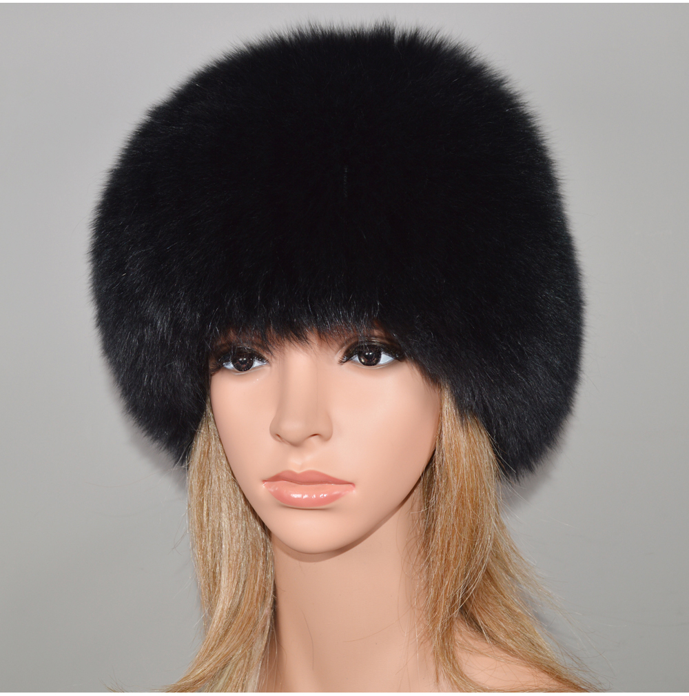 H121f83a513b6484787b3979b55761a6dm - New Luxury 100% Natural Real Fox Fur Hat Women Winter Knitted Real Fox Fur Bomber Cap Girls Warm Soft Fox Fur Beanies Hats