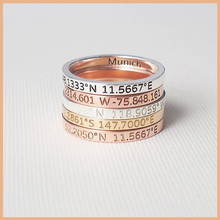 StrollGirl 925 Sterling Silver Custom Coordinates, Roman Numerals, Name Rings for Couple Personalized Jewelry Anniversary Gift