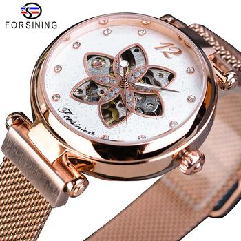 Forsining Women Watch Top Brand Luxury Female Mechanical Watch Diamond Flower Dial Design Rose Gold Mesh Automatic Ladies Clock women bracelet watch luxury brand women dress watch rose gold steel mesh female watch rhinestone diamond black clock relojs xfcs