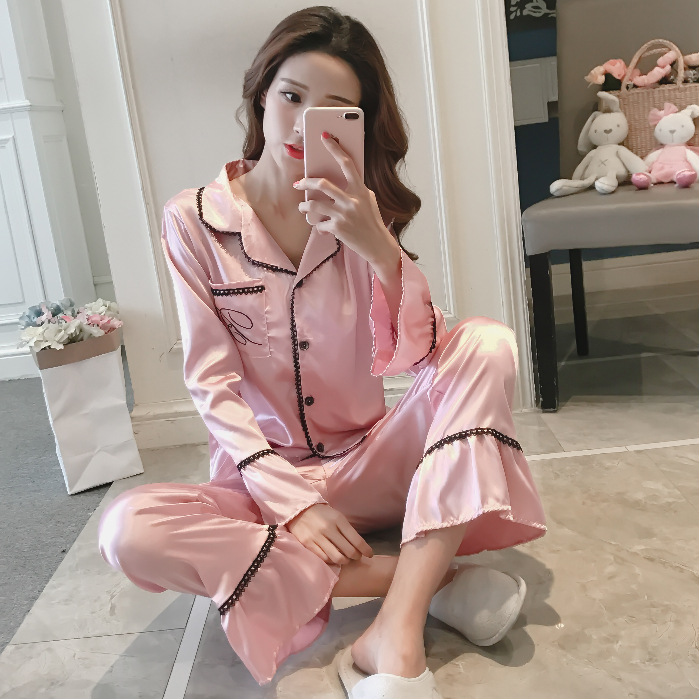 [Jun Xin] Korean-style Spring Women's Model Silk Fold-down Collar Solid Color Long Sleeve Trousers Tracksuit 146 # Bell Sleeve