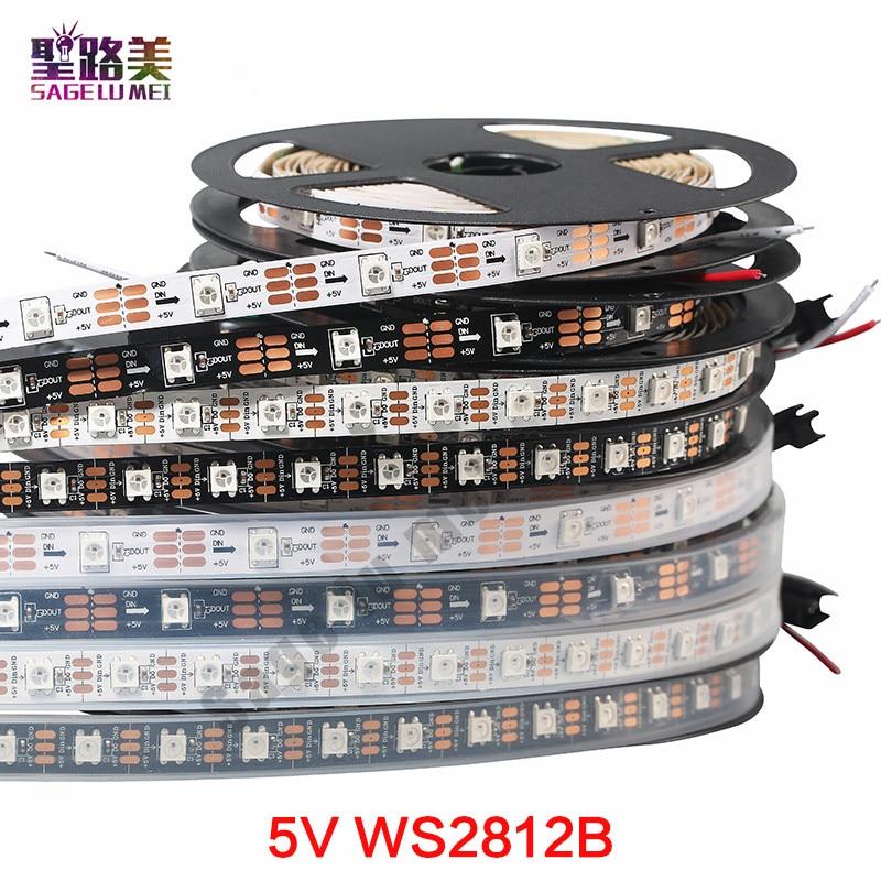 Fita led rgb inteligente, 1m, 5m, dc5v, ws2812b e ws2812, rgb, individualmente endereçável, preta e branca pcb ip30/65/67