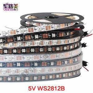 Image 1 - 1m 5m DC5V WS2812B WS2812 Led פיקסל רצועת מיעון בנפרד חכם RGB Led רצועת אור קלטת שחור לבן PCB IP30/65/67