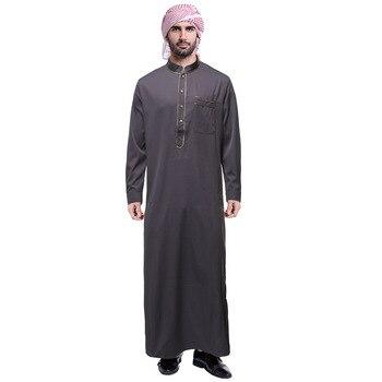 فستان قطن جوبا ثوب إسلامي رداء تونيك بأكمام طويلة للرجال عربية إسلامية عباية قفطان سعودي إيكاف ياقة ذهبية 1