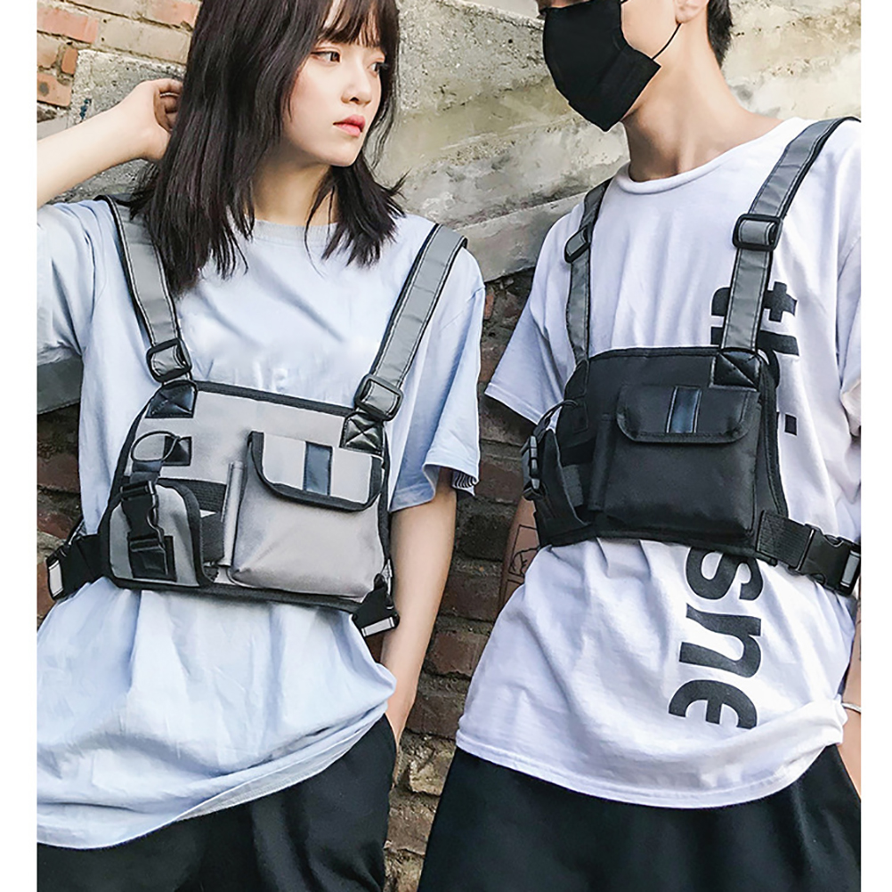 Nylon Chest Rig Waist Bag  Black Leisure Hip Hop Streetwear Functional Tactical Shopping Chest Bag Accessories