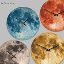 Specially recommended explosive home moon creative wall clock living room wooden decoration black hole clock creative gear wooden wall clock vintage industrial style clock wooden electronic home decorative wall clock