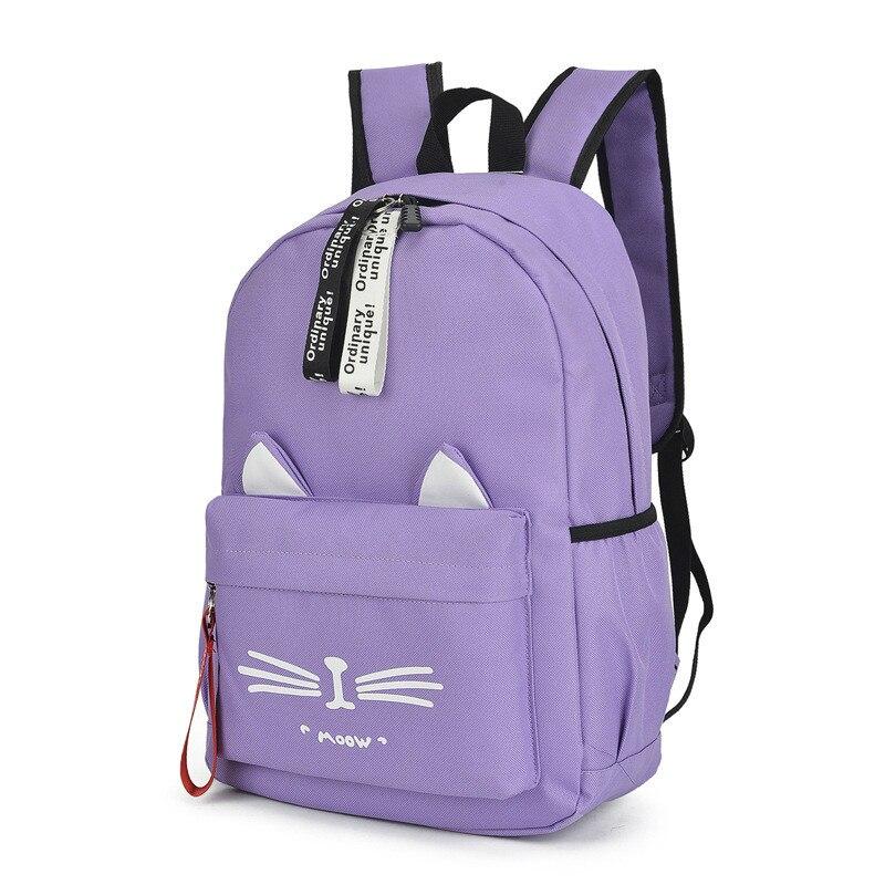 2020 Cute Cartoon School Bags For Teenage Girls Nylon Backpack Schoolbag Women Famale Casual Teen Student Bookbag Cat Ears New