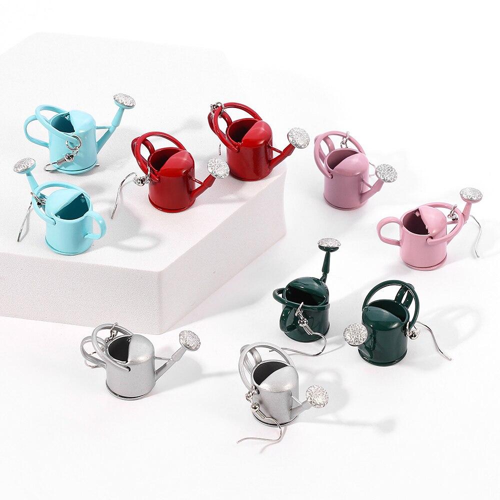 Симпатичные серьги в виде чайника и кастрюли, миниатюрные разноцветные Модные женские забавные серьги для женщин, очаровательные милые сер...