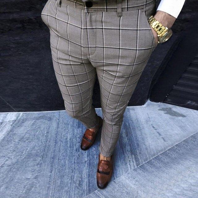 KANCOOLD Smart Casual Pants Fashion Cotton Midweight men's pants Casual Business Slim Fit Plaid Print Zipper Long Pants Trousers 4